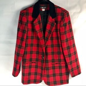 Red Plaid  Blazer Jacket with Black Velvet Color